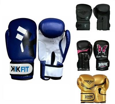 KIKFIT Leather Boxing Gloves MMA Sparring Fight Punch Bag Training Thai Mitts