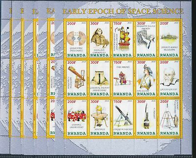 BB1-1840 Rwanda 2012 farly epoch of space science 5 sheets MNH