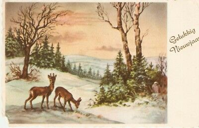 """Deers in winter landscape"" Antique New Year Greetings postcard"