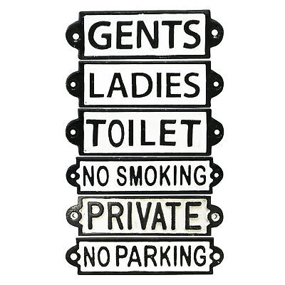 Toilet Gents Ladies No Smoking Parking Private Vintage Antique Cast Iron Signs