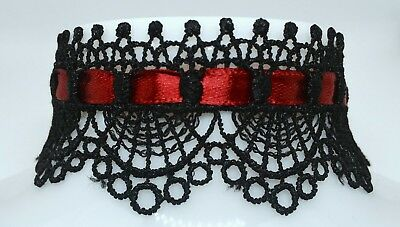 Red Ribbon Black Lace Choker - Gothic Gift - Witch - Halloween