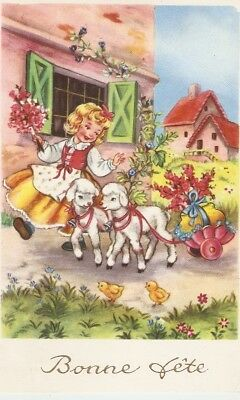 """Merry girl and lambs carrying flowers""  Nice French Gretings postcard"