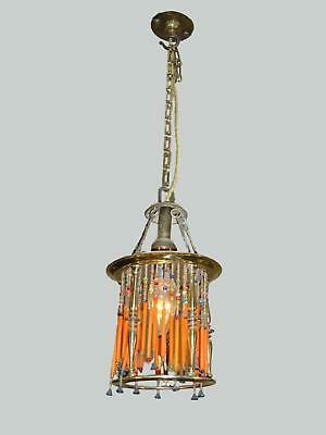 A French arts & crafts brass and beaded lantern. Circa 1900