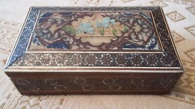 Vintage Anglo Indian Wooden,cow Bone,miro Mosiac Box.inlay Box.hand Painted