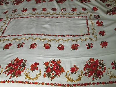 Vintage Chritmas Tablecloth Red & white mix &10 matching napkins Beautiful