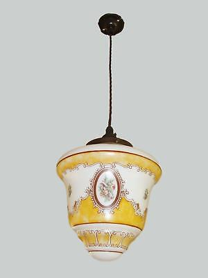 """A """"Superstone"""" Painted Opaline Glass lantern, England C1935"""