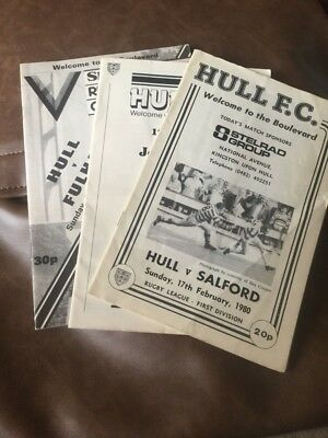 Hull FC rugby league programmes x 3 (Salford,York,Fulham) 1980-81