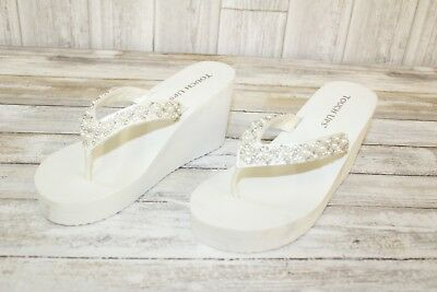 ** Touch Ups Shellie Thong Wedge Sandals, Women's - Size 11 ?, White