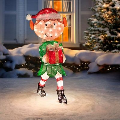 "OUTDOOR LIGHTED TINSEL 40"" Animated Christmas Elf ..."