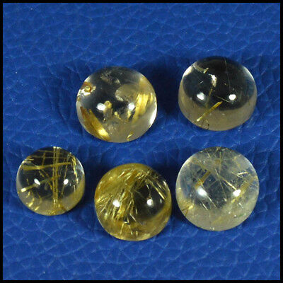 28.54Cts NATURAL GOLDEN RUTILE QUARTZ ROUND 5Pcs LOT CABOCHON GEMSTONES 35-03