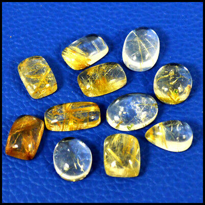 Golden Rutile Cabochon 64.60Cts  Natural Mix Lot 11Pcs Loose Gemstone  31-52