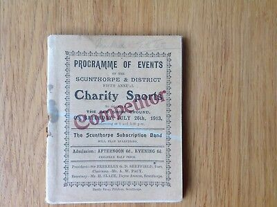 1913 Scunthorpe Sports Programme Old Show Ground