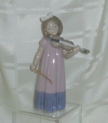 Genuine Lladro Nao Figurine * Girl With Violin * Music * Perfect Condition
