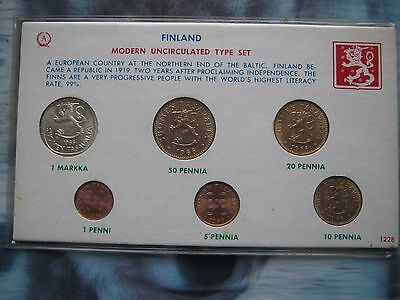 Finland 1966 modern UNC type 6 coin set from 1 Penni to Silver Markka in card
