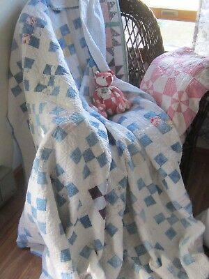 """Pretty and Cozy Antique Vintage Blue and White Nine-Patch Quilt 72X80"""""""