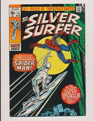 Marvel Comics Silver Surfer #14 1970 - High Grade Fn-Vf Spider-Man Appearance