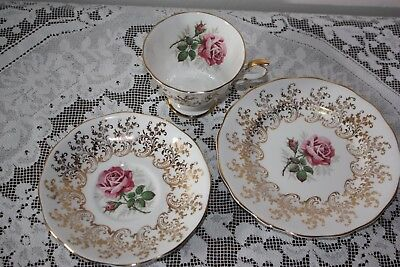 Lovely Vintage / Antique English Bone China Trio Tea Cup Saucer Cake Plate Rose