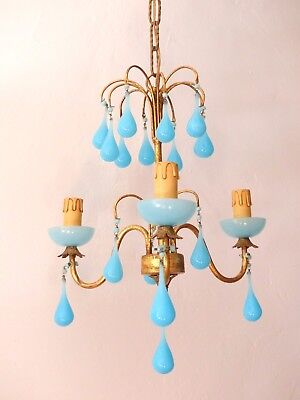 Antique Chandelier Blue Opaline drops 1920 Beads 3 Lights Gouttes RARE Lustre