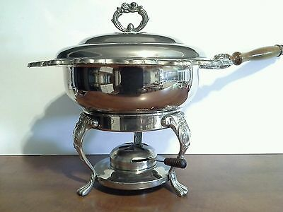 Vintage Silverplate Chafing Dish, Ornate Design with Wood Handle, Stand & Burner