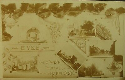 NINE VIEWS OF EYKE NEAR WOODBRIDGE SUFFOLK c1905 RP PC