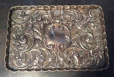 Antique Victorian repousse EPNS trinket tray w birds, flowers & faces, pre 1900