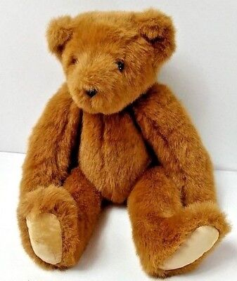 Vermont Teddy Bear Co Brown Bear Yellow Tush Tag Jointed Moveable Legs Arms Head