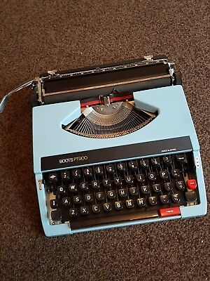 RETRO Boots PT900 Portable Typewriter Light Blue with Case- working fine
