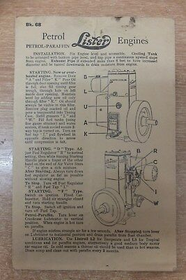 lister D & F type petrol paraffin engine instruction & parts list card booklet