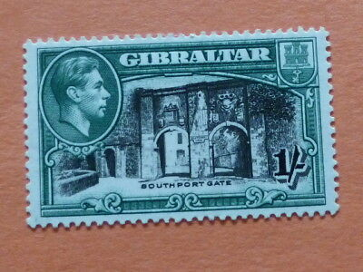 Gibraltar 1938-51 SG127a  1/- Black & Green (p.13.5)  Lightly Mounted Mint
