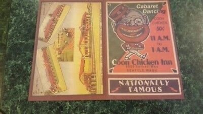 Coon Chicken Inn Menu Largest Nite Club in Seattle Menu Program Black Memorabili