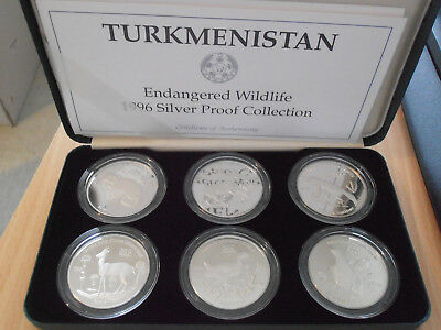 TURKMENISTAN 6 x 500 Manat 1996 Animals RARE SET SILVER PROOF