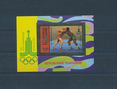 LH25263 Togo imperf Moscow 1980 olympic games sheet gold MNH