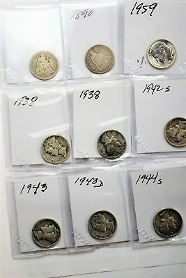 Lot Of 9 Silver Dimes Priced To Sell Check 'em Out !