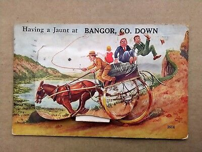 BANGOR, CO. DOWN 1934 Reg Carter Novelty Postcard to Hamsterley Colliery, Durham