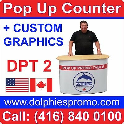 Trade Show Pop Up Table Counter Portable Kiosk Display + CUSTOM PRINTED GRAPHICS