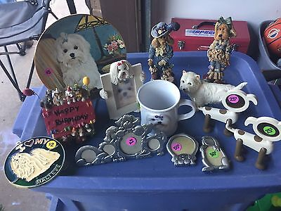 Maltese dog collectibles, Boyd's Bear dogs, Music Box