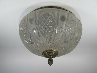 Antique French bronze & glass ceiling light # 6106