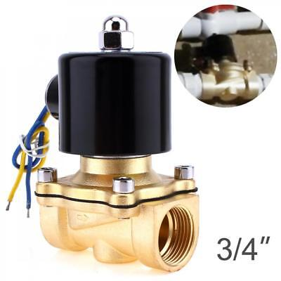 "Solenoid Valve DC 12V N/C 3/4"" NPT Brass Closed Electric Valve for Water Air Oil"