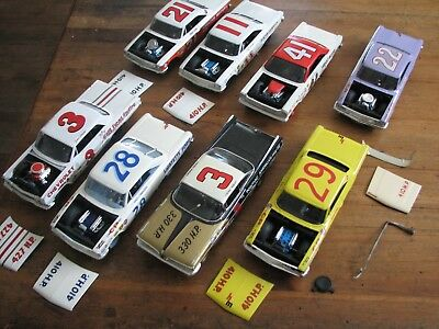 LOT OF 1/24 SCALE 8 NASCAR OLD SCHOOL CHEVY FORD MODELS revell monogram slot car