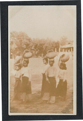 Burma - Burmese Girls going to the River for Water Real Photo Postcard