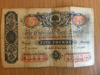 1940 Clydesdale Bank Five Pound Note Number 2900