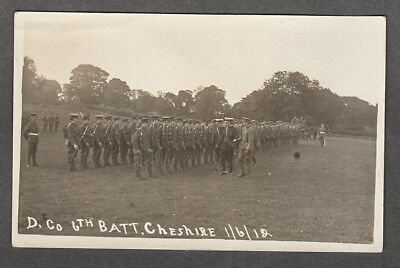 Cheshire Regiment - D. Co. 6th Batt. Cheshire 1912 Real Photo Postcard