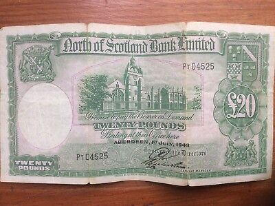 1943 North Of Scotland Bank Ltd. Twenty Pound Note Number 4525
