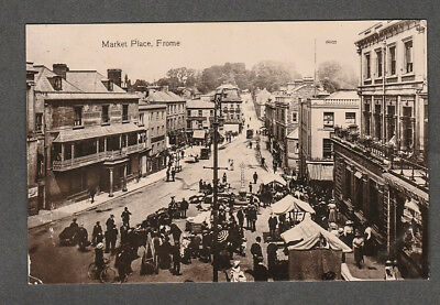 Somerset - Frome Market Place 1911 Real Photo Postcard