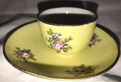 Meissen 19th Century Pottery Miniature Cup & Saucer 1815 Floral & Painted Decor