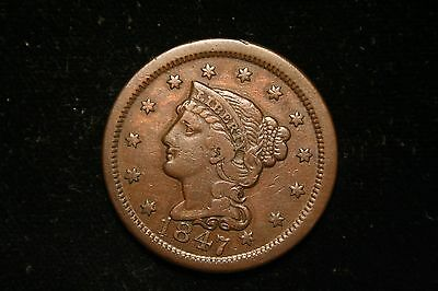 1847 Large Cent Penny, Braided Head,  US Coin , VERY FINE , Full Liberty!