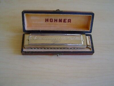 "Vintage ""the 64 Chromonica"" Model 280/64 ""c"" By M. Hohner With Wood Storage Box"