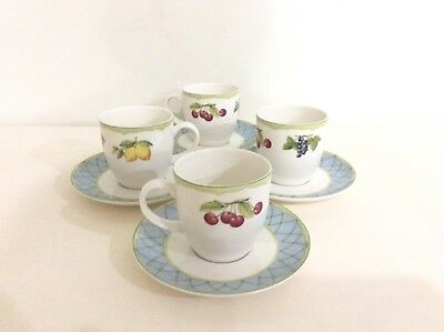 Lot Of 4 Mikasa Optima Fine China Y4001 Fruit Rapture Coffee/Tea Cups & Saucers