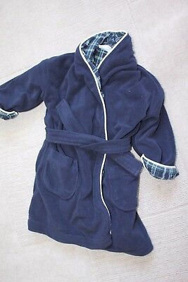 Little White Company Navy Dressing Gown. Navy 18-24 months.