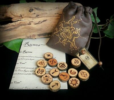 Witches 13 Alder Wood Runes with Triple Hare Pouch Wicca Pagan Yule Gift
